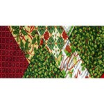 Christmas Quilt Background Twin Hearts 3D Greeting Card (8x4) Front