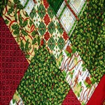Christmas Quilt Background Twin Hearts 3D Greeting Card (8x4) Inside