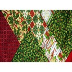Christmas Quilt Background Heart Bottom 3D Greeting Card (7x5) Back
