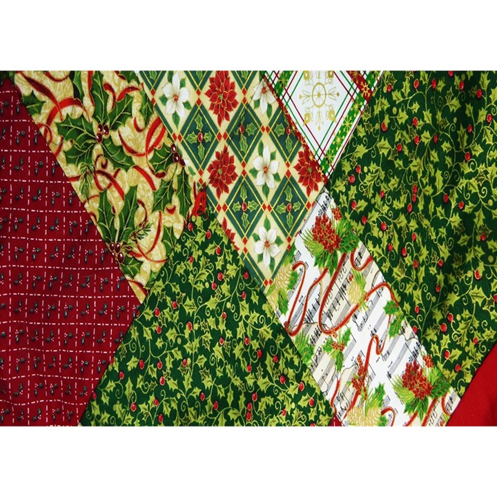 Christmas Quilt Background Birthday Cake 3D Greeting Card (7x5)