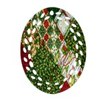 Christmas Quilt Background Oval Filigree Ornament (2-Side)  Front