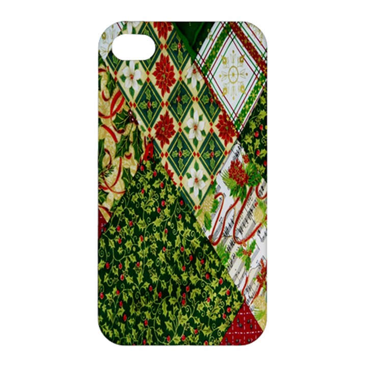 Christmas Quilt Background Apple iPhone 4/4S Hardshell Case