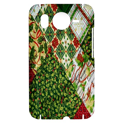Christmas Quilt Background HTC Desire HD Hardshell Case