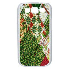 Christmas Quilt Background Samsung Galaxy S III Case (White)