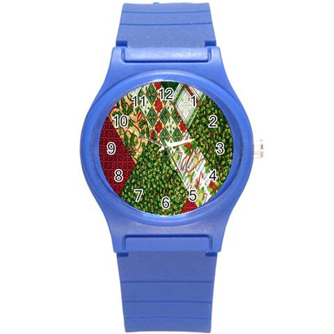 Christmas Quilt Background Round Plastic Sport Watch (S)