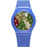 Christmas Quilt Background Round Plastic Sport Watch (S) Front