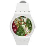 Christmas Quilt Background Round Plastic Sport Watch (M) Front