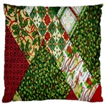 Christmas Quilt Background Large Cushion Case (Two Sides) Back
