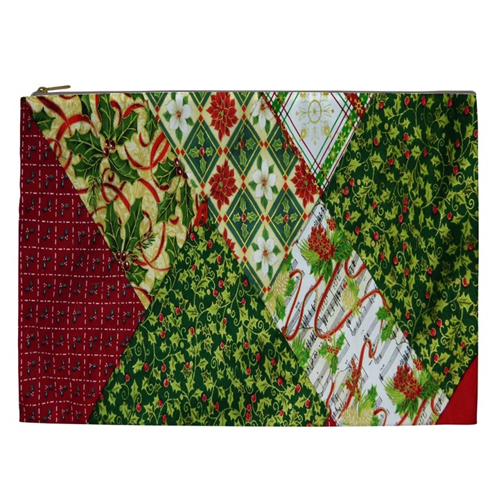 Christmas Quilt Background Cosmetic Bag (XXL)