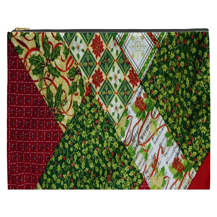 Christmas Quilt Background Cosmetic Bag (XXXL)