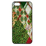 Christmas Quilt Background Apple iPhone 5 Seamless Case (Black) Front
