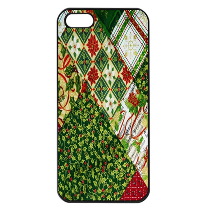 Christmas Quilt Background Apple iPhone 5 Seamless Case (Black)
