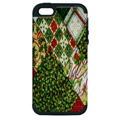 Christmas Quilt Background Apple iPhone 5 Hardshell Case (PC+Silicone)