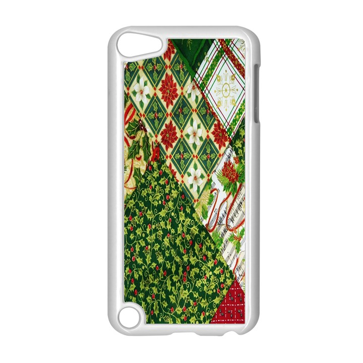 Christmas Quilt Background Apple iPod Touch 5 Case (White)
