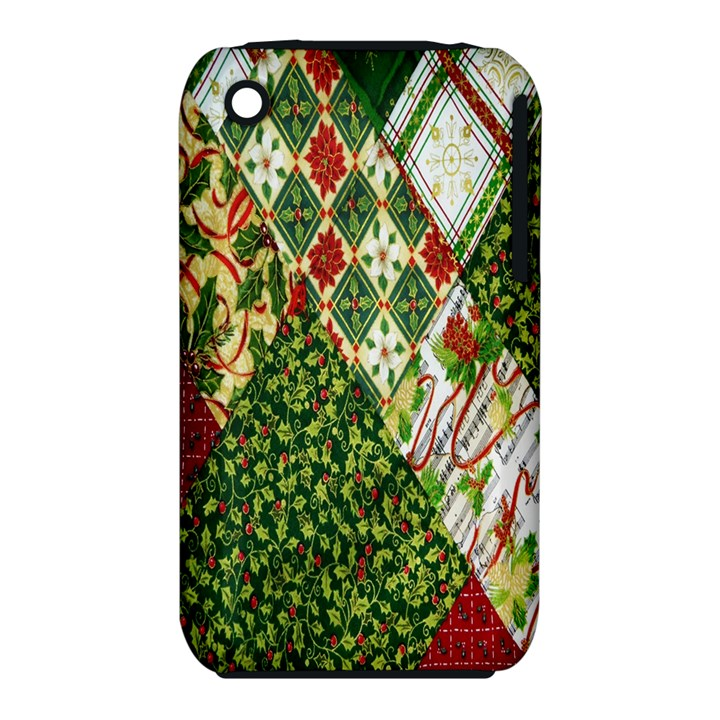 Christmas Quilt Background Apple iPhone 3G/3GS Hardshell Case (PC+Silicone)