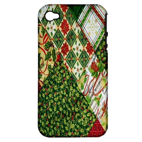 Christmas Quilt Background Apple iPhone 4/4S Hardshell Case (PC+Silicone)
