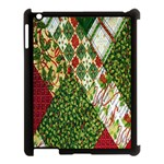 Christmas Quilt Background Apple iPad 3/4 Case (Black) Front