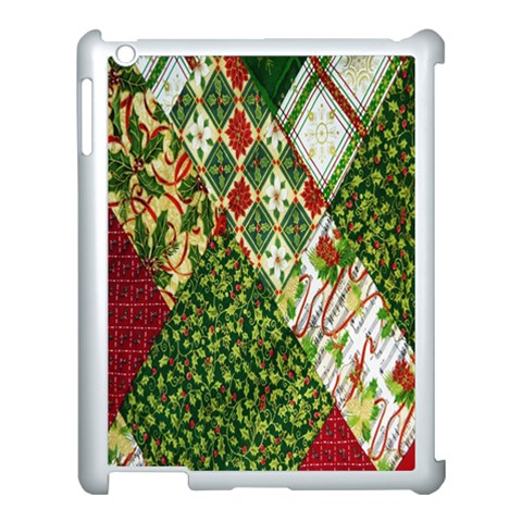 Christmas Quilt Background Apple iPad 3/4 Case (White)