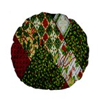 Christmas Quilt Background Standard 15  Premium Round Cushions Back