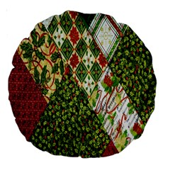 Christmas Quilt Background Large 18  Premium Round Cushions