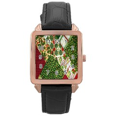 Christmas Quilt Background Rose Gold Leather Watch