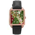 Christmas Quilt Background Rose Gold Leather Watch  Front
