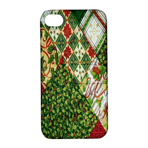 Christmas Quilt Background Apple iPhone 4/4S Hardshell Case with Stand