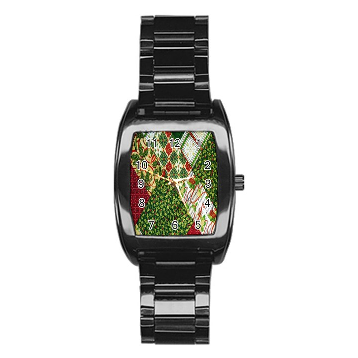 Christmas Quilt Background Stainless Steel Barrel Watch