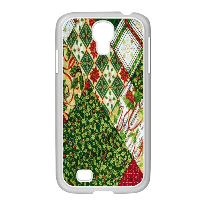 Christmas Quilt Background Samsung GALAXY S4 I9500/ I9505 Case (White)
