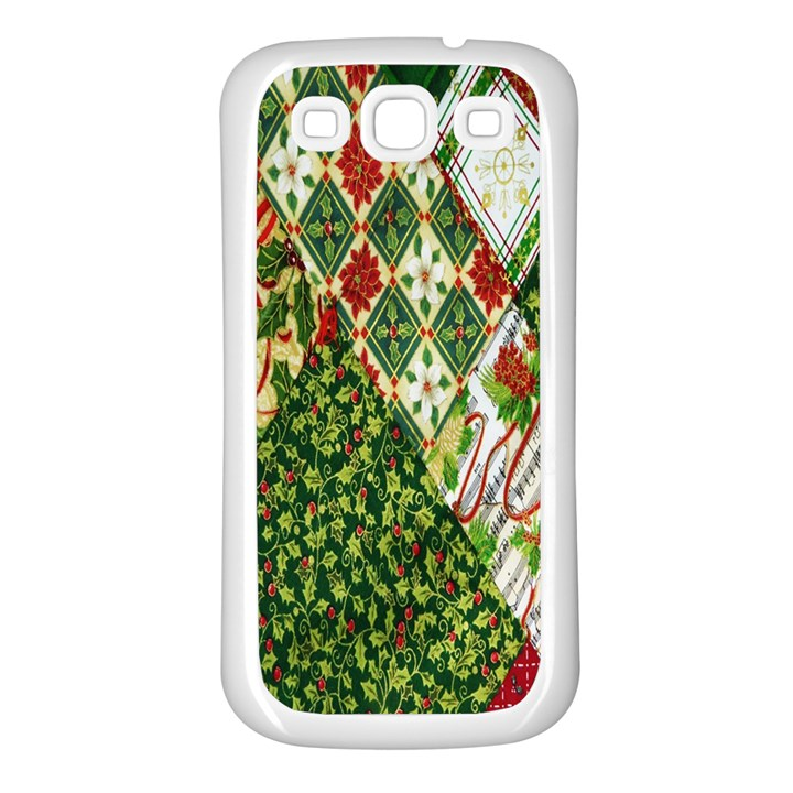 Christmas Quilt Background Samsung Galaxy S3 Back Case (White)