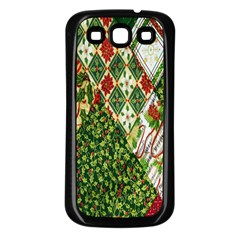 Christmas Quilt Background Samsung Galaxy S3 Back Case (Black)