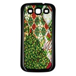 Christmas Quilt Background Samsung Galaxy S3 Back Case (Black) Front