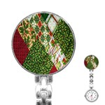 Christmas Quilt Background Stainless Steel Nurses Watch Front