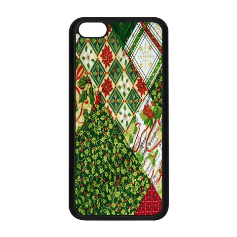 Christmas Quilt Background Apple iPhone 5C Seamless Case (Black)