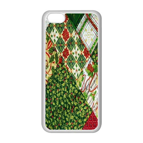 Christmas Quilt Background Apple iPhone 5C Seamless Case (White)