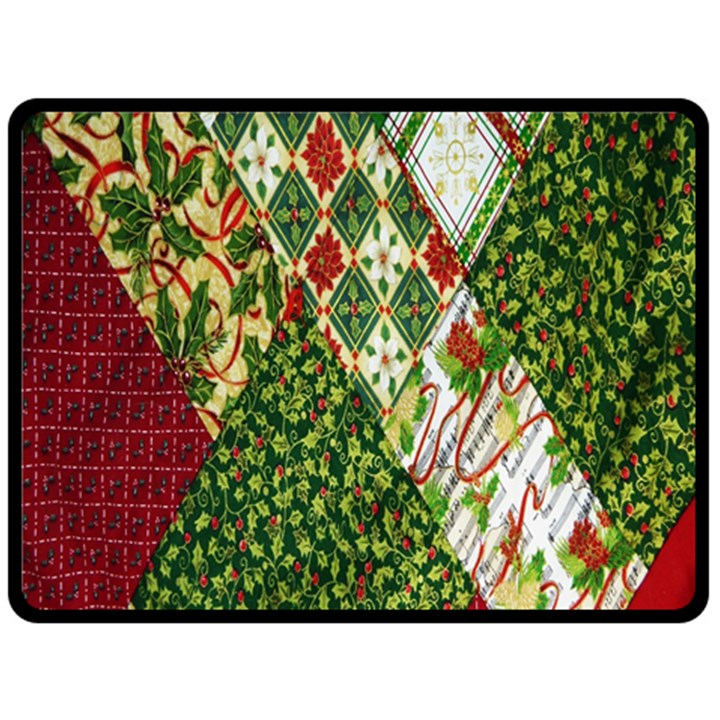 Christmas Quilt Background Double Sided Fleece Blanket (Large)