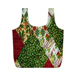 Christmas Quilt Background Full Print Recycle Bags (M)  Front