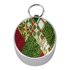 Christmas Quilt Background Mini Silver Compasses