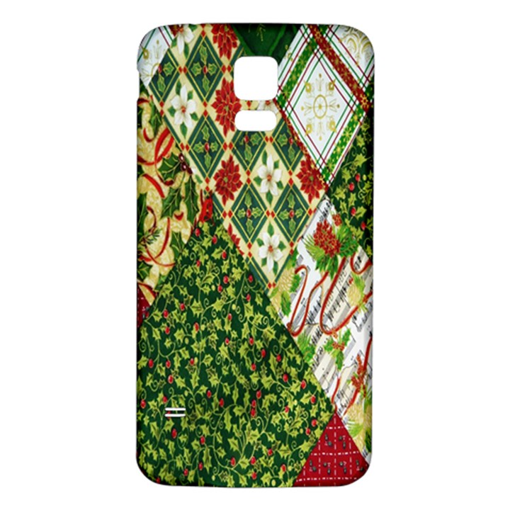 Christmas Quilt Background Samsung Galaxy S5 Back Case (White)