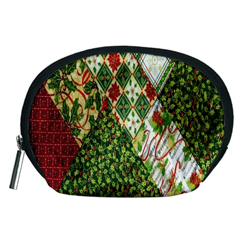 Christmas Quilt Background Accessory Pouches (Medium)
