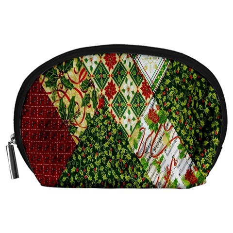 Christmas Quilt Background Accessory Pouches (Large)