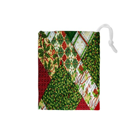 Christmas Quilt Background Drawstring Pouches (Small)
