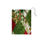Christmas Quilt Background Drawstring Pouches (Small)  Front