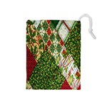 Christmas Quilt Background Drawstring Pouches (Medium)  Front