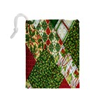Christmas Quilt Background Drawstring Pouches (Medium)  Back