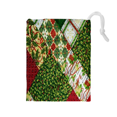 Christmas Quilt Background Drawstring Pouches (Large)