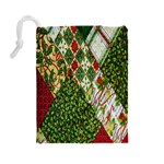 Christmas Quilt Background Drawstring Pouches (Large)  Back