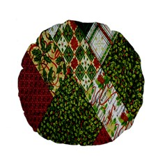 Christmas Quilt Background Standard 15  Premium Flano Round Cushions