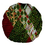 Christmas Quilt Background Large 18  Premium Flano Round Cushions Front