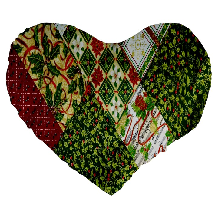 Christmas Quilt Background Large 19  Premium Flano Heart Shape Cushions